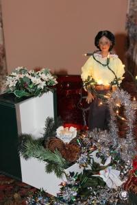 Christmas tree decorating 2012 and Darq got tangled among the lights