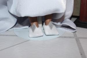 Darq wears her  Erte-inspired shoes. @ 2013 www.CatherineEmclean.com