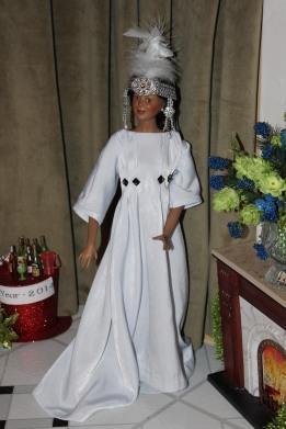 Darq wears her Erte-inspired gown. @ 2013 www.CatherineEmclean.com